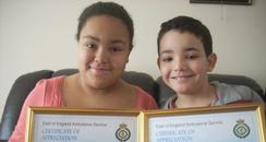 Two Bedfordshire kids with bravery certificates