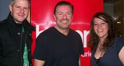 Gareth, Lizzie and Ricky Gervais