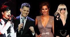 Rihanna, Michael Buble, Cheryl Cole, Lady Gaga