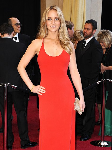 Jennifer Lawrence wears red dress at the Oscars