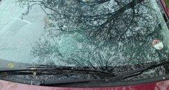Vicky's smashed windscreen
