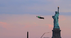 People flying in New York