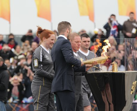David Beckham with the Olympic Flame