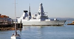 HMS Defender arrives in Portsmouth