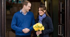 Prince William and Kate Middleton leaving the hospit