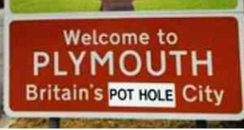 Plymouth Sign Defaced