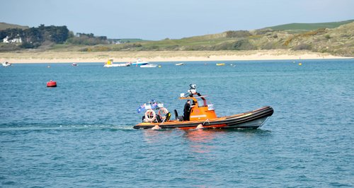 Police launch at the scene in Padstow