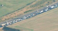 Traffic stuck on M25 at Dartford (C) Sky News