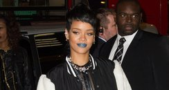 Rihanna wearing blue lipstick