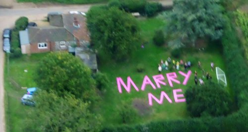 Marry Me proposal helicopter coltishall Norfo