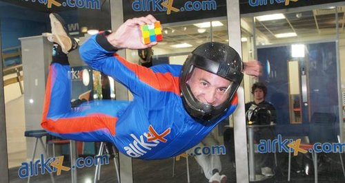 skydiver James Wilson with Rubik's Cube