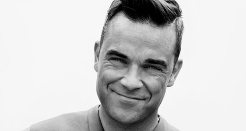 Robbie Williams in black and white