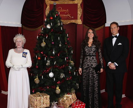 Prince William and Kate with the Queen Waxwork