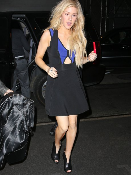 Ellie Goulding wearing a cut out dress in New York