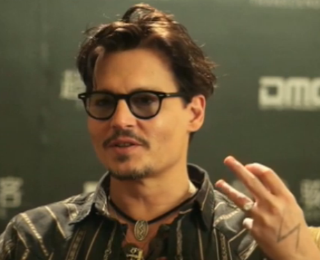 Johnny Depp wearing his engagement ring