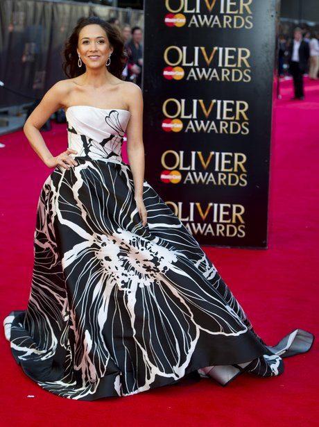 Myleen Klass in a black and white dress on the red carpet at The Royal Opera House, London.