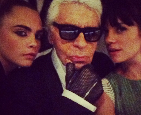 Cara Delevingne, Karl Lagerfeld and Lily Allen