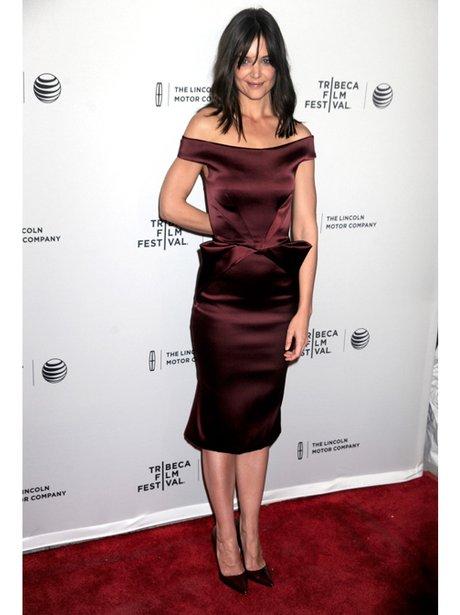Katie Holmes in a maroon dress
