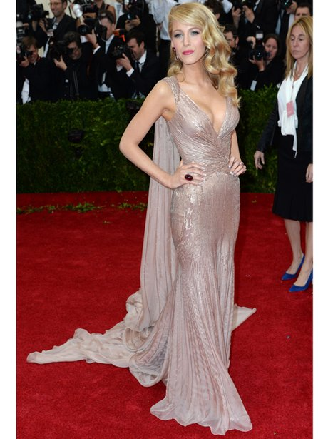 Blake Lively pale pink dress on the red carpet