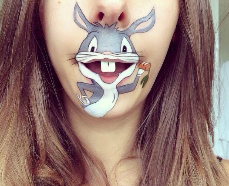 Laura Jenkinson with Bugs Bunny painted on her face