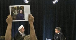Protestor holds picture of Ghoncheh Ghavami