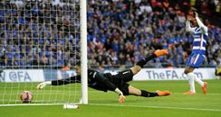 Reading FC Keeper Adam Federici spills goal.