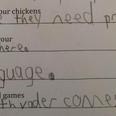 Kid's homework comment