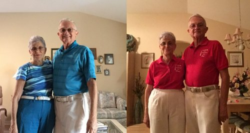 Old couple dressing same canvas