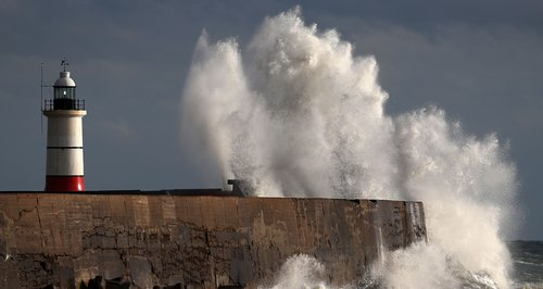 Waves crashing in Newhaven East Sussex