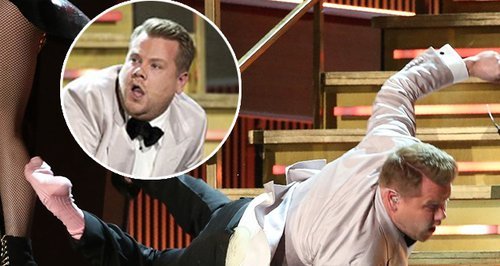 Host James Corden FALLS Down The Stairs Opening Th
