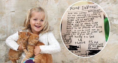 child cat wedding invitation letter