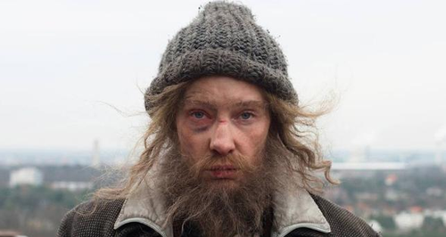 Cate Blanchett as homeless man in Manifesto