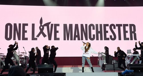 Ariana Grande live during One Love Manchester