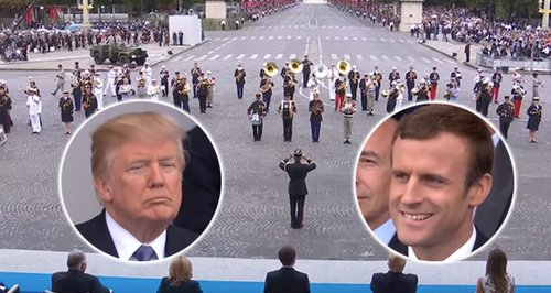 Trump unamused by French marching band's Daft Punk medley